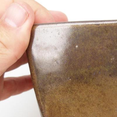 Keramik Bonsaischale 2. Wahl - 11 x 11 x 8,5 cm, Farbe grün - 2