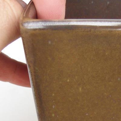 Bonsaischale aus Keramik 2. Wahl - 8 x 8 x 10 cm, Farbe grün - 2