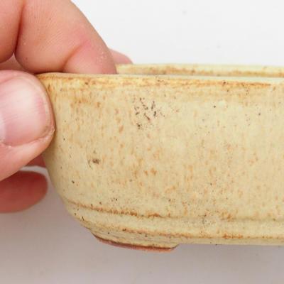 Keramik Bonsai Schüssel 2. Wahl - 13 x 8 x 4 cm, braun-gelbe Farbe - 2