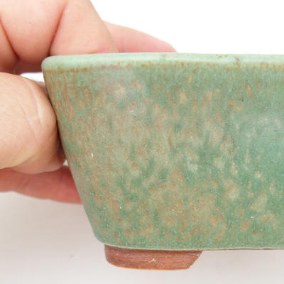 Keramik Bonsaischale 2. Wahl - 13 x 10 x 5,5 cm, braun-grüne Farbe - 2