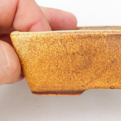 Keramik Bonsaischale 2. Wahl - 12 x 9 x 3,5 cm, braun-gelbe Farbe - 2