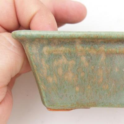 Keramik Bonsaischale 2. Wahl - 12 x 8 x 4 cm, braun-grüne Farbe - 2