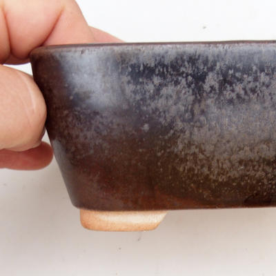 Keramik Bonsaischale 2. Wahl - 13 x 10 x 6 cm, Farbe braun - 2