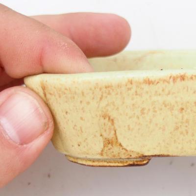Keramik Bonsai Schüssel 2. Wahl - 12 x 9 x 3 cm, braun-gelbe Farbe - 2