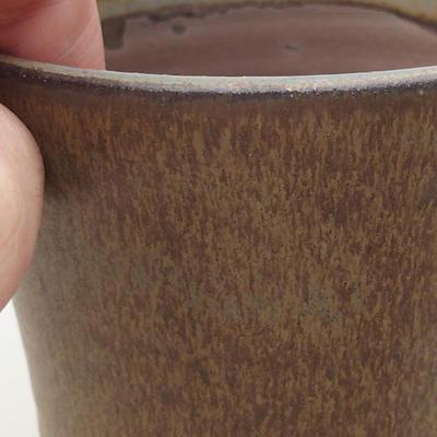 Keramische Bonsai-Schale 9,5 x 9,5 x 8,5 cm, braune Farbe - 2