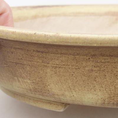 Keramische Bonsai-Schale 28 x 25 x 6 cm, Farbe braun-gelb - 2