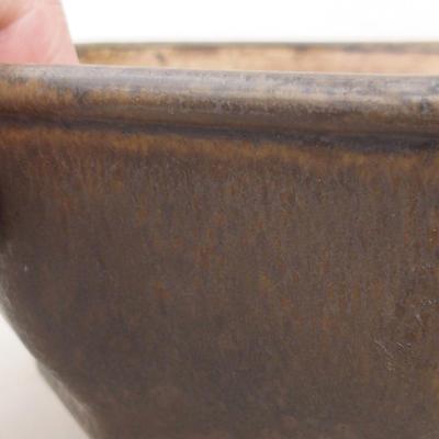 Keramische Bonsai-Schale 15,5 x 15,5 x 6,5 cm, braune Farbe - 2