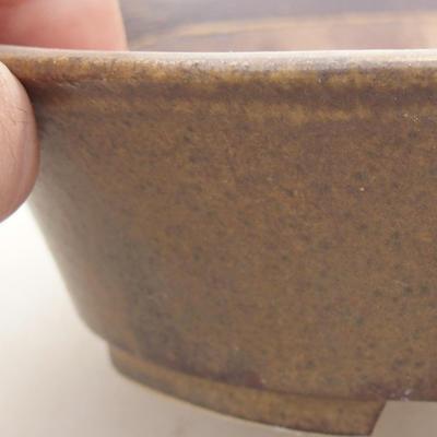 Keramische Bonsai-Schale 14 x 12 x 3,5 cm, braune Farbe - 2