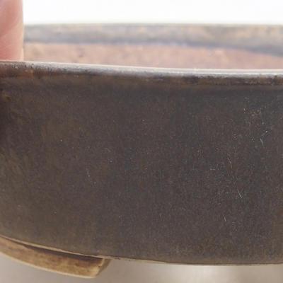 Keramische Bonsai-Schale 14 x 12 x 3,5 cm, Farbe braun - 2