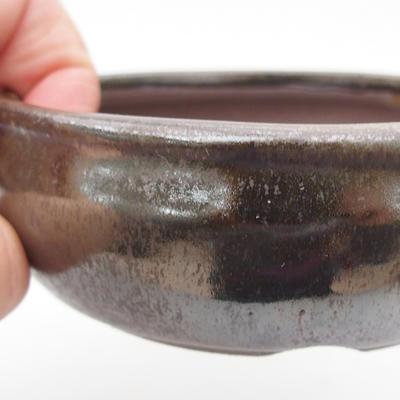 Keramik-Bonsaischale 10 x 10 x 3,5 cm, braun-grüne Farbe - 2