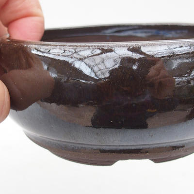 Keramik-Bonsaischale 11 x 11 x 4,5 cm, braun-grüne Farbe - 2