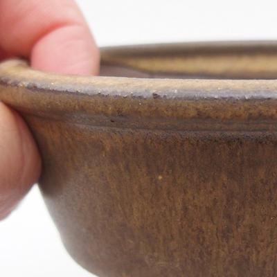 Keramik Bonsai Schüssel 10 x 10 x, 3,5 cm, braune Farbe - 2