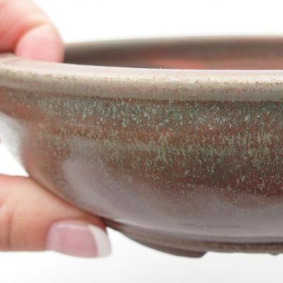 Keramik Bonsai Schüssel 15 x 15 x 4,5 cm, grün-rote Farbe - 2