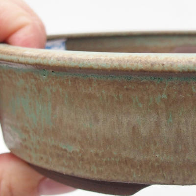 Keramik Bonsaischale 15 x 15 x 4 cm, braun-grüne Farbe - 2