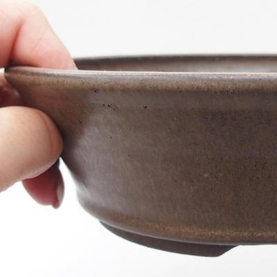 Keramik Bonsaischale 17,5 x 17,5 x 5 cm, Farbe grau - 2