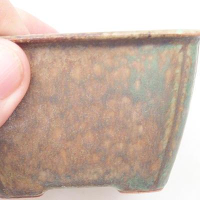 Keramische Bonsai-Schale 8,5 x 8,5 x 5 cm, Farbe braun-grün - 2