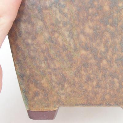 Keramische Bonsai-Schale 7,5 x 7,5 x 8,5 cm, Farbe braun-grün - 2