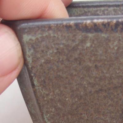 Keramische Bonsai-Schale 7 x 7 x 5,5 cm, braun-blaue Farbe - 2