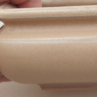 Keramik Bonsai Schüssel 15 x 15 x 5,5 cm, beige Farbe - 2