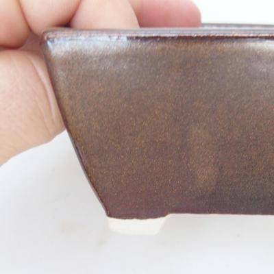 Keramik Bonsai Schüssel 9,5 x 9,5 x 5,5 cm, braune Farbe - 2