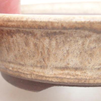Bonsai-Keramikschale 11 x 11 x 3 cm, beige Farbe - 2