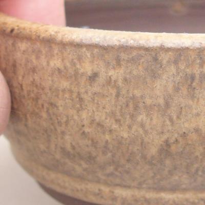 Keramische Bonsai-Schale 9 x 9 x 3,5 cm, beige Farbe - 2