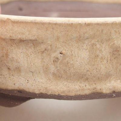 Keramik Bonsai Schüssel 9 x 9 x 3 cm, beige Farbe - 2