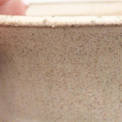 Bonsai-Keramikschale 11 x 11 x 4,5 cm, beige Farbe - 2