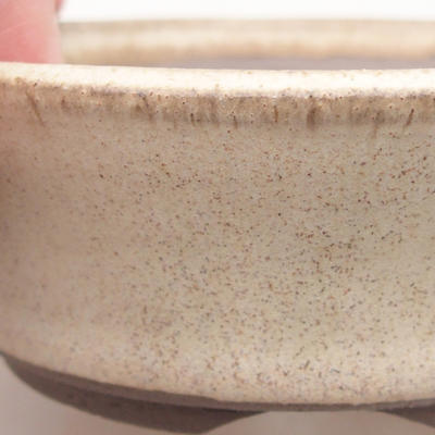 Keramik Bonsai Schüssel 10 x 10 x 3,5 cm, beige Farbe - 2