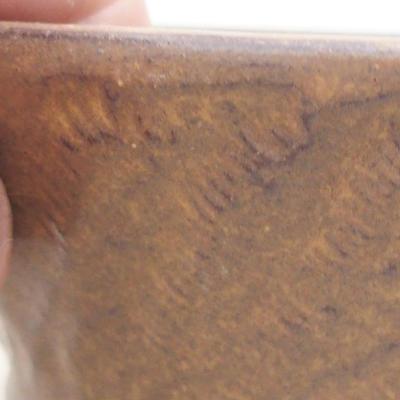 Keramische Bonsai-Schale 11 x 11 x 4,5 cm, braune Farbe - 2