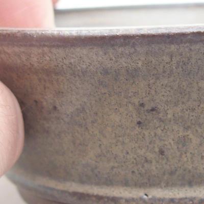 Keramische Bonsai-Schale 9,5 x 9,5 x 3,5 cm, braune Farbe - 2