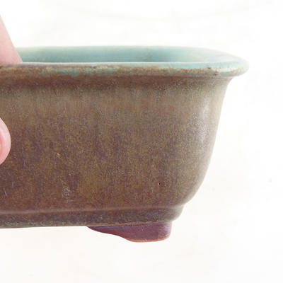 Keramische Bonsai-Schale 13,5 x 10 x 6 cm, Farbe braun-grün - 2