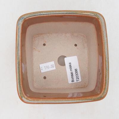 Keramische Bonsai-Schale 10 x 10 x 8,5 cm, Farbe grau-rostig - 2