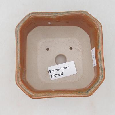 Keramische Bonsai-Schale 10 x 10 x 6,5 cm, Farbe grau-rostig - 2