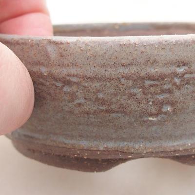 Keramische Bonsai-Schale 9 x 9 x 3,5 cm, graue Farbe - 2