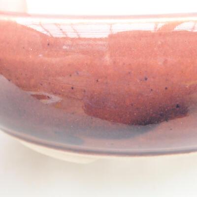 Keramik Bonsai Schüssel 13 x 13 x 4,5 cm, burgunder Farbe - 2