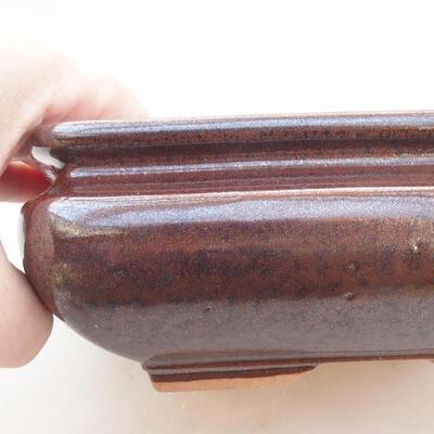 Keramische Bonsai-Schale 15 x 15 x 5,5 cm, braune Farbe - 2
