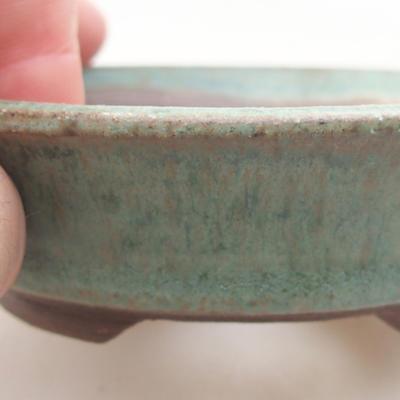 Keramische Bonsai-Schale 9,5 x 9,5 x 2,5 cm, Farbe grün - 2