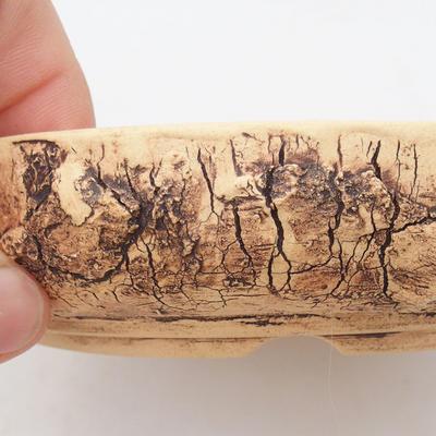 Keramik Bonsaischale 15 x 15 x 3,5 cm, Farbe rissig - 2