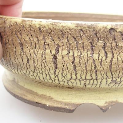 Keramik Bonsai Schüssel 16 x 16 x 5 cm, gelbe Farbe - 2