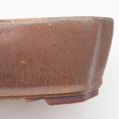 Keramische Bonsai-Schale 20,5 x 17,5 x 6 cm, braune Farbe - 2