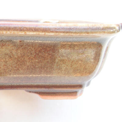 Keramische Bonsai-Schale 17 x 13,5 x 4,5 cm, braune Farbe - 2