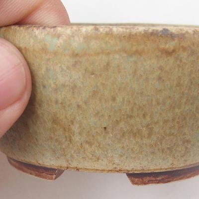 Keramische Bonsai-Schale 8 x 7 x 4 cm, Farbe braun-grün - 2