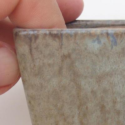 Keramische Bonsai-Schale 6,5 x 6,5 x 5 cm, braun-blaue Farbe - 2