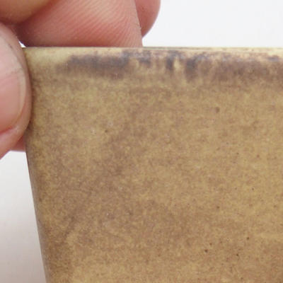 Keramische Bonsai-Schale 6,5 x 6,5 x 5 cm, Farbe braun-gelb - 2