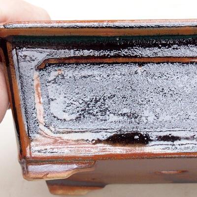 Keramische Bonsai-Schale 13 x 10 x 5 cm, Farbe schwarzbraun - 2