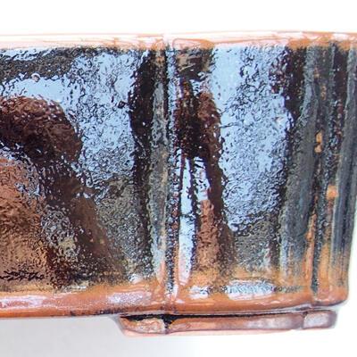 Keramische Bonsai-Schale 20 x 16,5 x 6,5 cm, braun-schwarze Farbe - 2