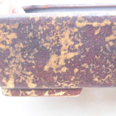 Keramische Bonsai-Schale 25 x 19,5 x 6,5 cm, Farbe braun-gelb - 2