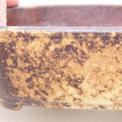 Keramische Bonsai-Schale 15 x 11 x 4 cm, Farbe braun-gelb - 2