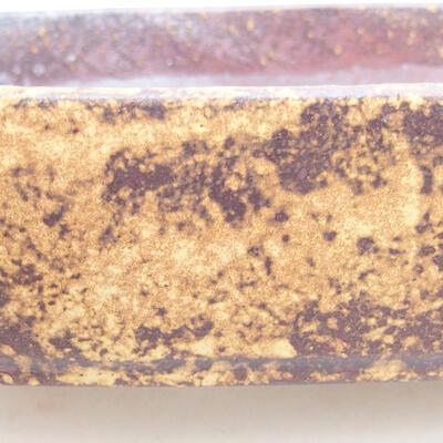 Keramische Bonsai-Schale 17,5 x 13,5 x 5 cm, Farbe braun-gelb - 2